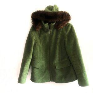 L.L Bean wool blend fern green hooded jacket coat
